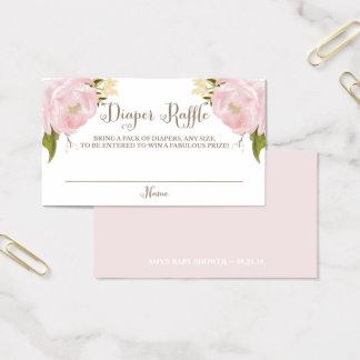 Romantic Watercolor Pink Peonies Diaper Raffle Business Card