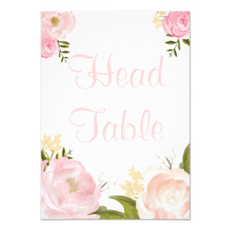 Romantic Watercolor Pink Peonies Head Table Card