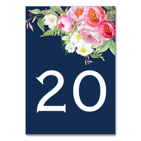 Romantic Watercolor Pink Peonies Roses Table Cards