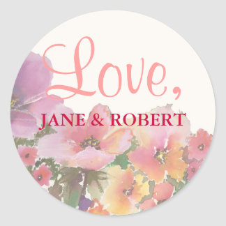 Romantic Watercolor Wedding Flowers Classic Round Sticker