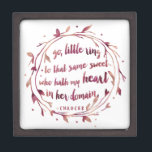 """Romantic Watercolor Wedding Ring Bearer Box<br><div class=""""desc"""">""""Go, little ring, to that same sweet who hath my heart in her domain."""" This beautiful ring box features the romantic quote from Chaucer in berry watercolor brushstroke font. Sweet alternative to a ring pillow and makes a lovely keepsake for the bride. Box measures 3x3. Shop matching Marsala wedding and...</div>"""