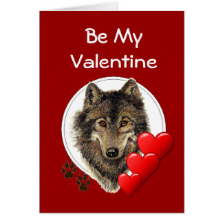 Romantic Watercolor Wolf Valentine Greeting Card