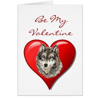 Romantic  Watercolor Wolf Valentine Card