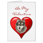 Romantic  Watercolor Wolf Valentine Cards