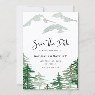 Romantic Watercolor Woodland Forest Save The Date