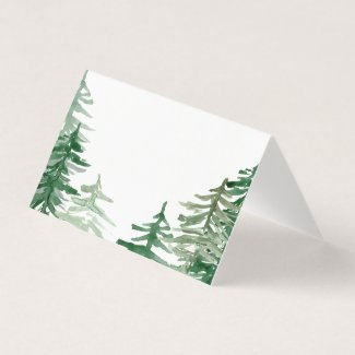 Romantic Watercolor Woodland Place Card