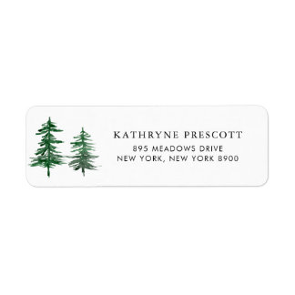 Romantic Watercolor Woodland Return Address Label