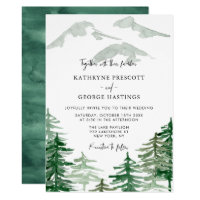 Romantic Watercolor Woodland Wedding Invitation