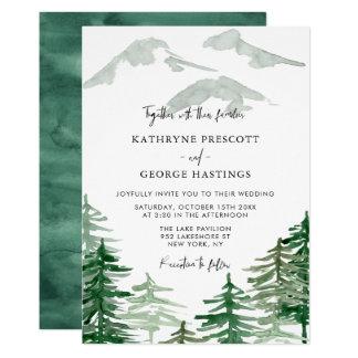 Romantic Watercolor Woodland Wedding Invitation