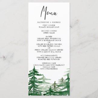 Romantic Watercolor Woodland Wedding Menu Card