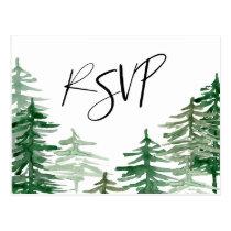 Romantic Watercolor Woodland Wedding RSVP Postcard