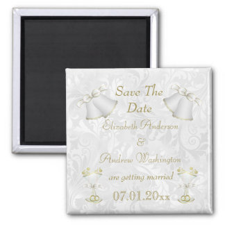Romantic Wedding Bells & Champagne Flutes Magnet