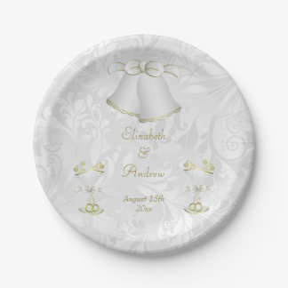 Romantic Wedding Bells & Champagne Flutes Paper Plate