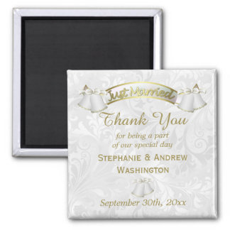 Romantic Wedding Bells Thank You 2 Inch Square Magnet