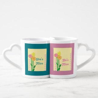 Romantic wedding couples' coffee mug set