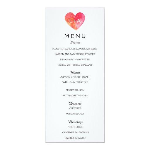 romantic wedding menu heart template card zazzle