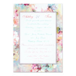Romantic Wedding Pink Teal Watercolor Chic Floral 5x7 Paper Invitation Card