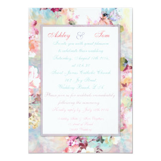 """Romantic Wedding Pink Teal Watercolor Chic Floral 5"""" X 7"""" Invitation Card"""