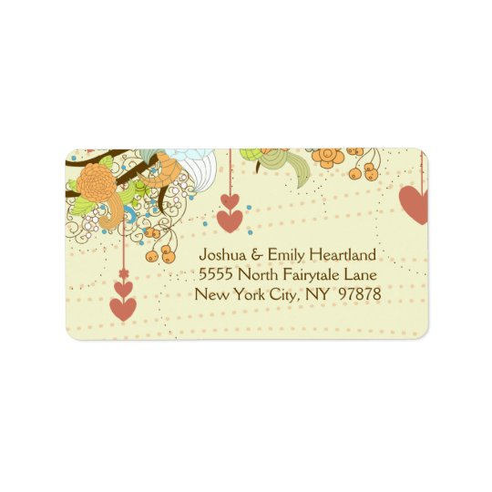 Romantic whimsical flowers hearts wedding address label