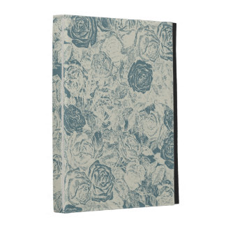 Romantic White and Blue Roses iPad Folio Cover