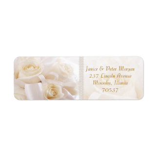 Romantic white cream roses Return Address Label