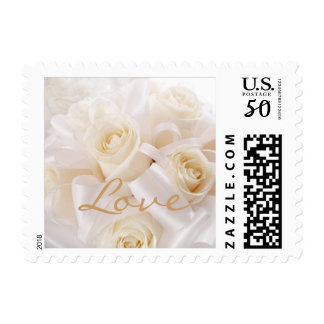 Romantic white cream roses Wedding Love Postage