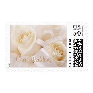 Romantic white cream roses Wedding Postage