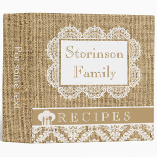 Romantic white doily with lace and burlap recipe 3 ring binder