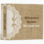 Romantic white doily with lace and burlap recipe 3 ring binders