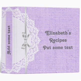 Romantic white doily with lace and burlap recipe binder