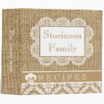 Romantic white doily with lace and burlap recipe binders