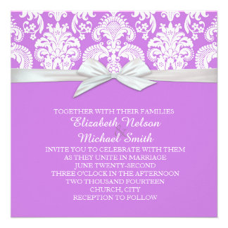 Romantic White&Lavender Damask Wedding Invite