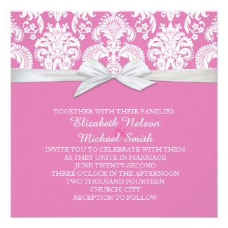 Romantic White&Pink Damask Wedding Invite