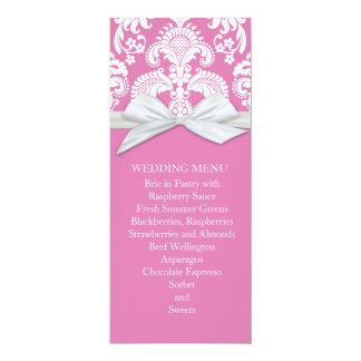 Romantic White&Pink Damask Wedding Menu Custom Announcement