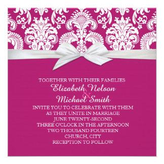Romantic White&Purple Damask Wedding Invite