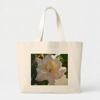 Romantic White Rose CricketDiane Canvas Bags