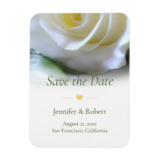 Romantic White Rose Save the Date Magnet