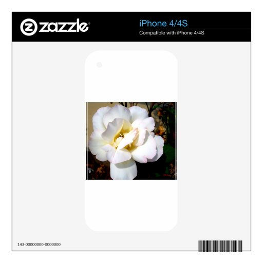Romantic White Rose Vintage Soft Look Decal For iPhone 4