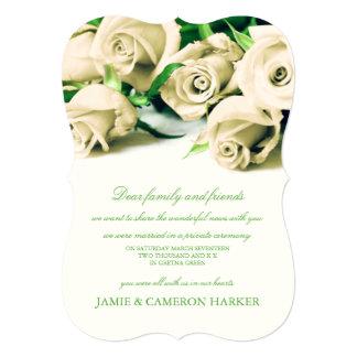 Romantic White Roses Elopement Announcement