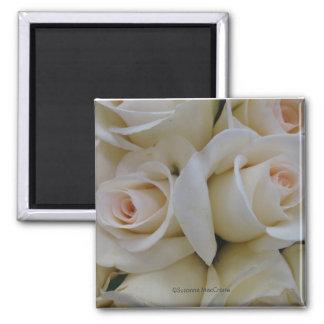 Romantic White Roses ~ Square Magnet