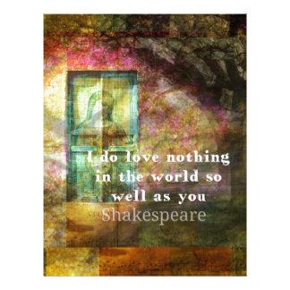 ROMANTIC William Shakespeare LOVE quote Letterhead Design