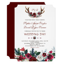 Romantic Winter Burgundy Floral Antlers Wedding Invitation