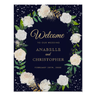 Romantic Winter Wedding Welcome Sign