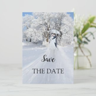 Romantic Winter Wonderland Save the Date Card