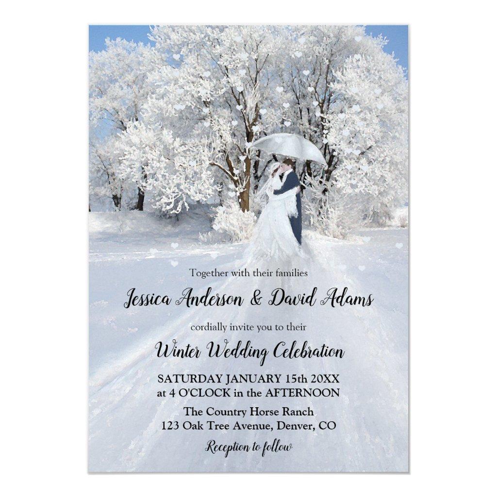 Romantic Winter Wonderland Wedding Invitation