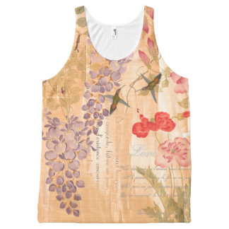 Romantic Wisteria Roses Flowers Floral Poetry Bird All-Over Print Tank Top
