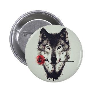 Romantic wolf pinback button