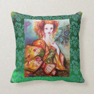 ROMANTIC WOMAN AND SPARKLING PEACOCK FEATHER Green Throw Pillow