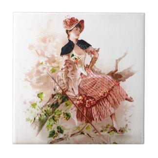 Romantic woman ceramic tile
