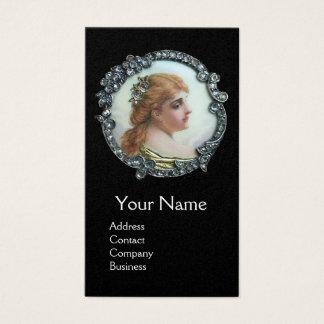 ROMANTIC WOMAN,DIAMOND FLOWER VINTAGE ENAMEL Black Business Card